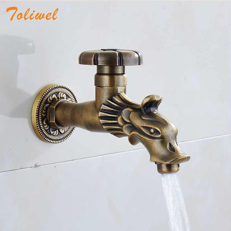 antique brass garden faucet wall mount