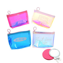 1PC Fashion Womens Lady Kid Coin Wallet PVC Lady Small Mini Coin Pouch Zipper Money Key Earphone Line Coin Holder Purse(China)