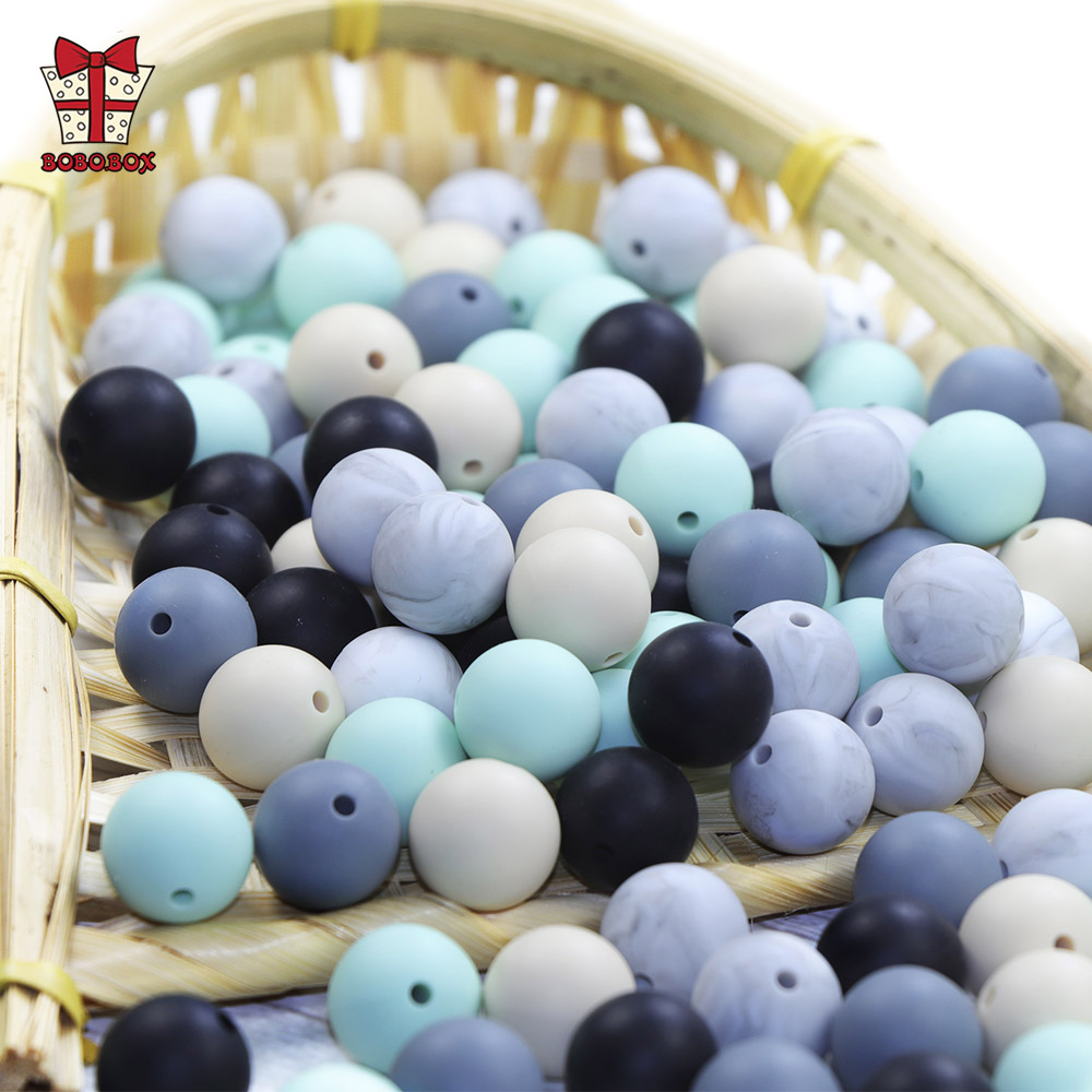 BOBO.BOX 10pcs Silicone Beads 15mm Round Perle Silicone Dentition Baby Teething Beads Pacifier Chain Accessories Baby Products