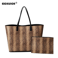 EXCELSIOR Leopard Womens Bag PU Leather Shoulder Bags for Female Big Capacity Composite 2019 Fashion Sac a Main