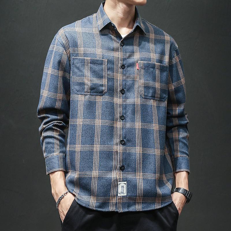 M-4XL Plus Size Double Pocket Front Autumn Men Shirt Long Sleeve Streetwear Plaid Shirt Casual Office Checked Shirt Male XXXXL