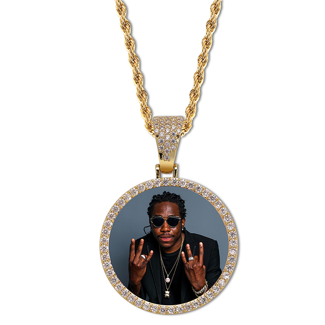 Custom Photo Memory Medallions Solid Pendant Necklace With Tennis Chain Hip Hop Jewelry Personalized Cubic Zircon Chains Gift 3