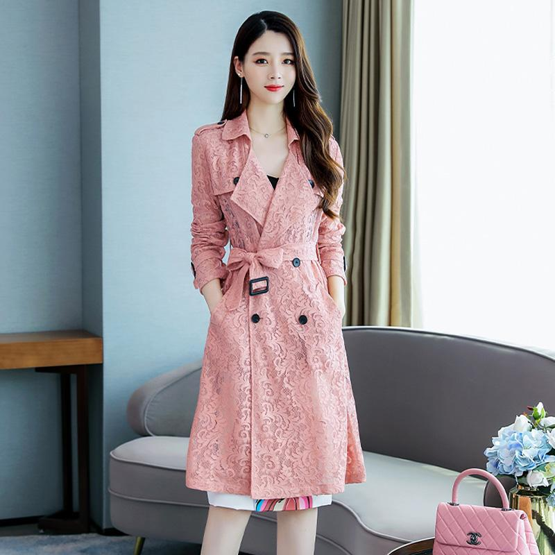 2019 Autumn Lace Coats for Women Streetwear Turn-down Collar Double Breasted Female Pink   Trench   Coat Sobretudo Feminino