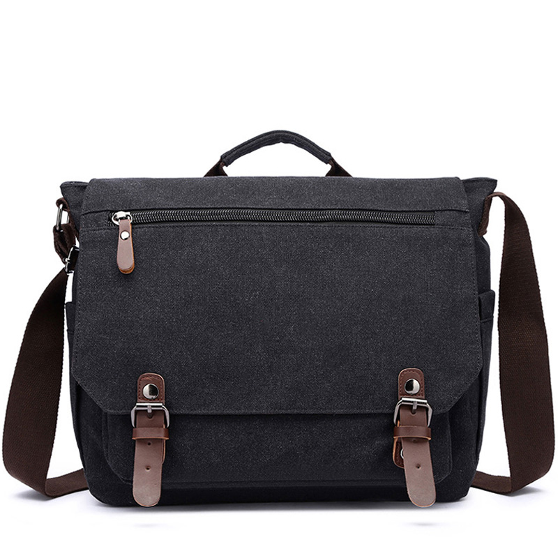 Retro Canvas Multifunction Messenger Shoulder Bag Solid Briefcases Suitcase Card Pocket For Men Women Outdoor Office Bag XA288ZC