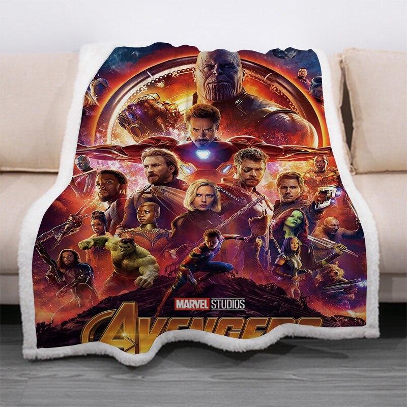 Superhero Avengers 3D Print Sherpa Blanket Sofa Couch Quilt Cover Travel Bedding Velvet Throw Thick Double-layer Fleece Blankets-1