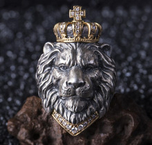 Transgraniczny gorący sprzedawanie europa i ameryka Vintage lew pierścień mężczyźni regulowany modny skrzyżowany korona król lew Simba pierścień tanie tanio Animal Chinese Zodiac Yiwu 786678 For Both Men and Women