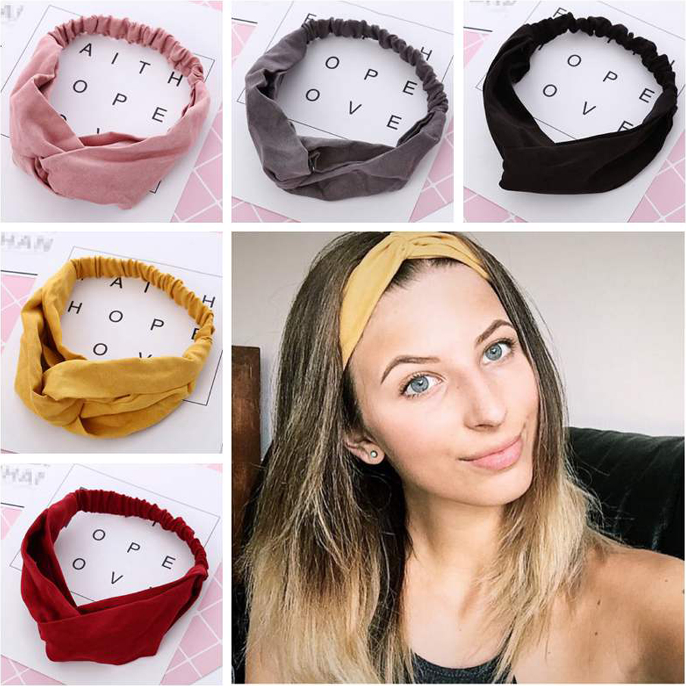 2020 Woman Bohemia Knotted Turban Headband Hair Accessories For Girls Turban Elastic Hairband Head Wrap Suede Hair Bands