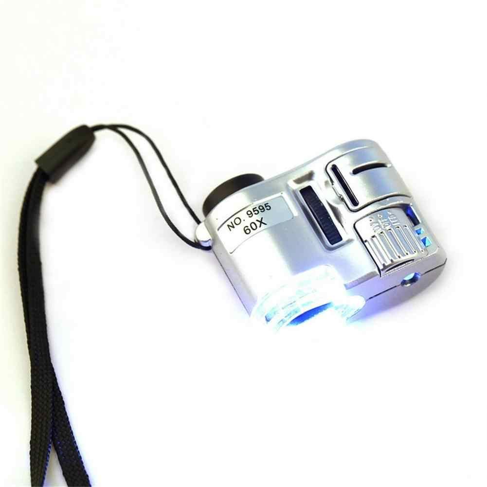מיני עדשת 60X כיס זכוכית מגדלת מיקרוסקופ עם LED אולטרה סגול אור תכשיטי חינוך פוקוס מתכוונן זכוכית מגדלת מטבע גלאי