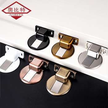 AOBT czarny magnetyczny ogranicznik do drzwi ze stali nierdzewnej z darmowym przepychaczem naklejki ukryte drzwi uchwyty podłogowe bez paznokci odbojnik do drzwi tanie i dobre opinie Brama zatrzymuje