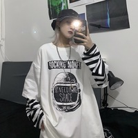 Tops Women's 2019 New Style Korean style INS Harajuku Style Street Vintage Printed Letter Mock Two Piece Loose Fit Long sleeved