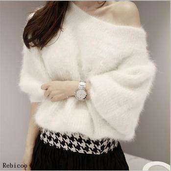 цена на Elegant Contrast Color One Shoulder Halter Knit Sweater Women Jumper Autumn Winter  Pullover Long Sleeve Female Knitwear