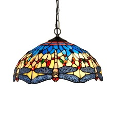 European Tiffany Creative Colored Glass Dragonfly T-pattern Art Chandelier Bar Living Room Lights 40CM