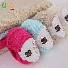 Новейшая хлопковая пряжа для вязания, мягкая чесаная нить, пряжа для вязания крючком, ручная пряжа, цветная Органическая пряжа Umissy