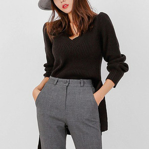 Image 5 - 2019 Winter Women Sweater Solid Casual Lace Up Pullover Basic Jumper Autumn V neck Knitted Knit Sweater Female