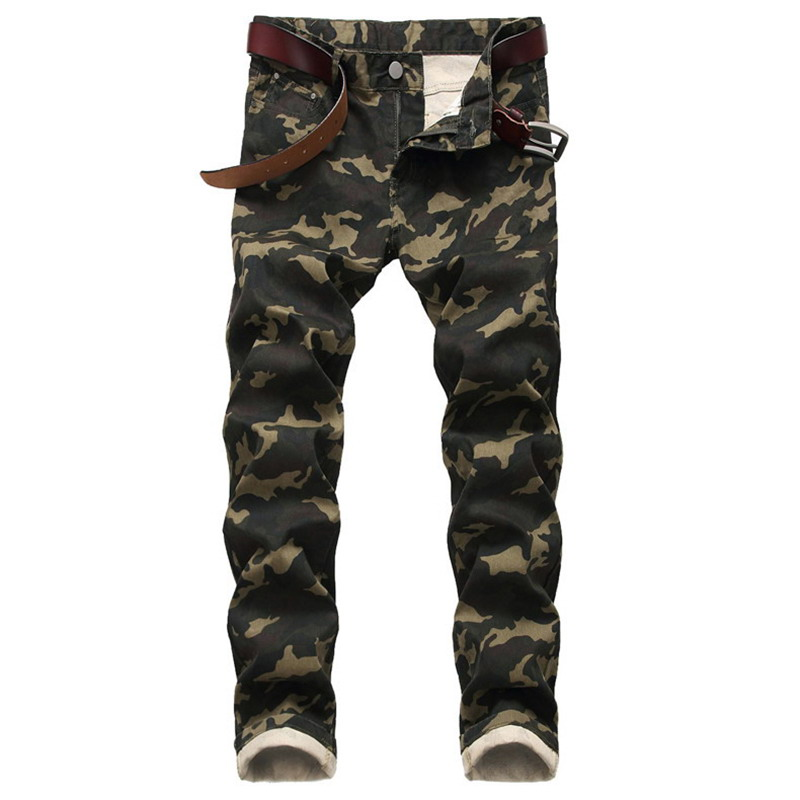 Men Slim Stretch Jeans Army Green Printed Casual Pants Men Camo Jeans Personality
