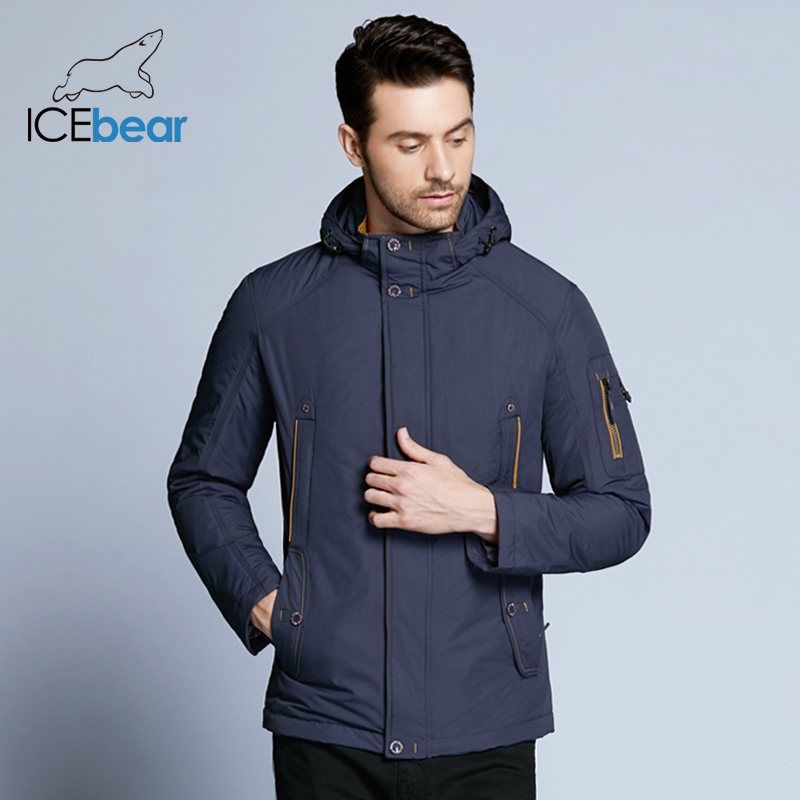 ICEbear 2018 New Large Size high quality winter jacket Men Fashion Jackets Parka Spring Casual Brand Spring Warm Coat 17MC853D-in Jackets from Men's Clothing    1