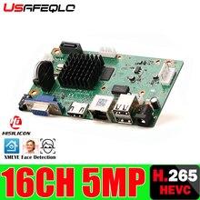 Gravador de vídeo digital h265/h264 nvr, cabo de detecção de movimento p2p cms xmeye segurança 16ch * 5mp