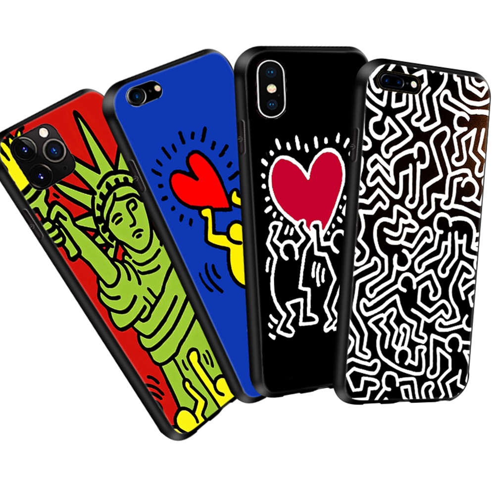 KEITH HARING iPhone 5/5S 6/6S 7 8 Plus X/XS Max XR 3D Case Display ...