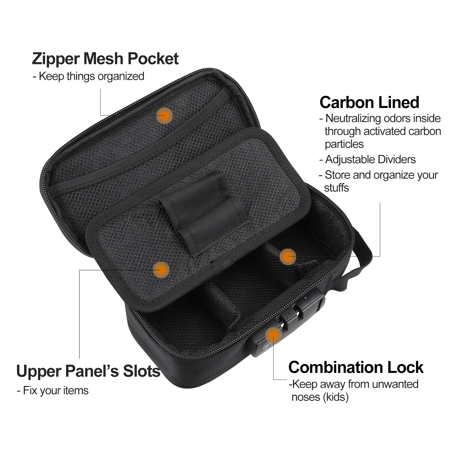 FIREDOG Smoking Smell Proof Case with Lock Kit  Stash Case with Rolling Tray Tobacco Cigarettes Bag Set 4