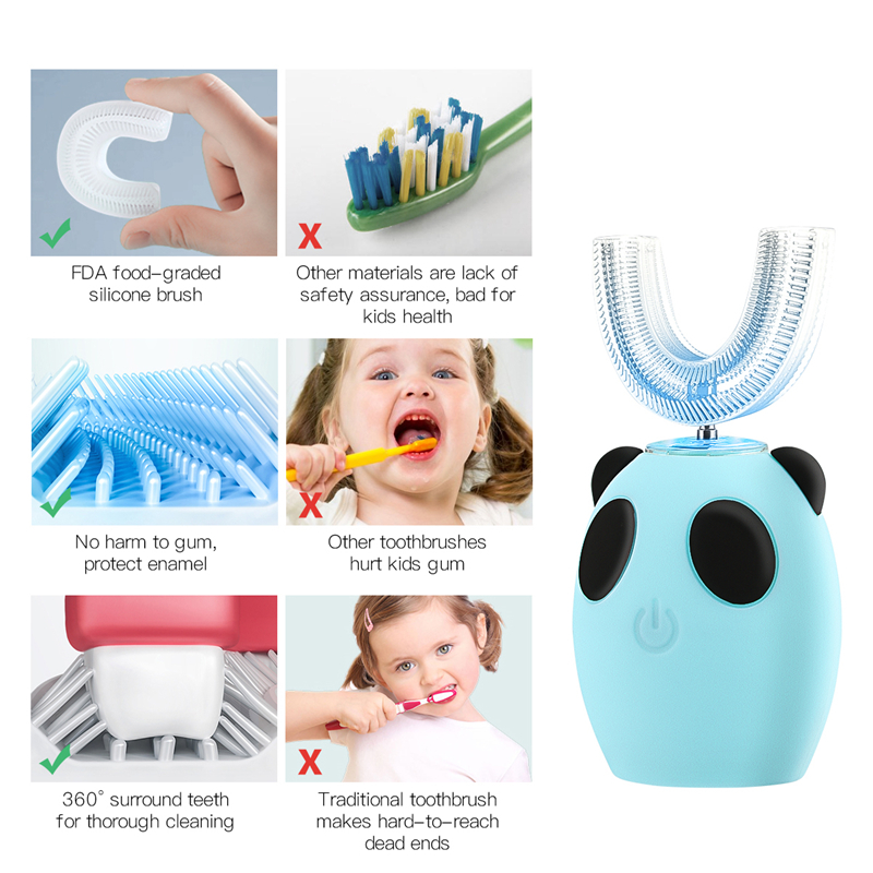 Smart U 360 Degrees Kids Sonic Electric Toothbrush Music Silicon Automatic Ultrasonic Teeth Tooth Brush Cartoon Pattern Children image