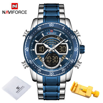 NAVIFORCE Mens Military Sports Waterproof Watches Luxury Analog Quartz Digital Wrist Watch for Men Bright Backlight Gold Watches 15