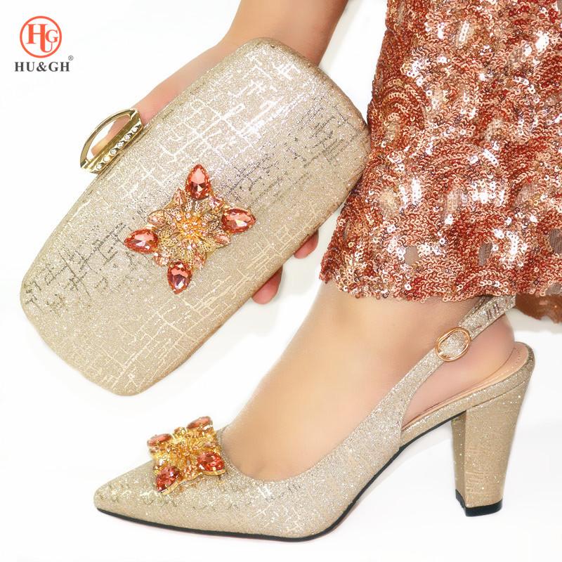 2020 New Gold Color Fashion Italian Shoes With Matching Clutch Bag Hot African Big Wedding With High Heel And Bag Set Party