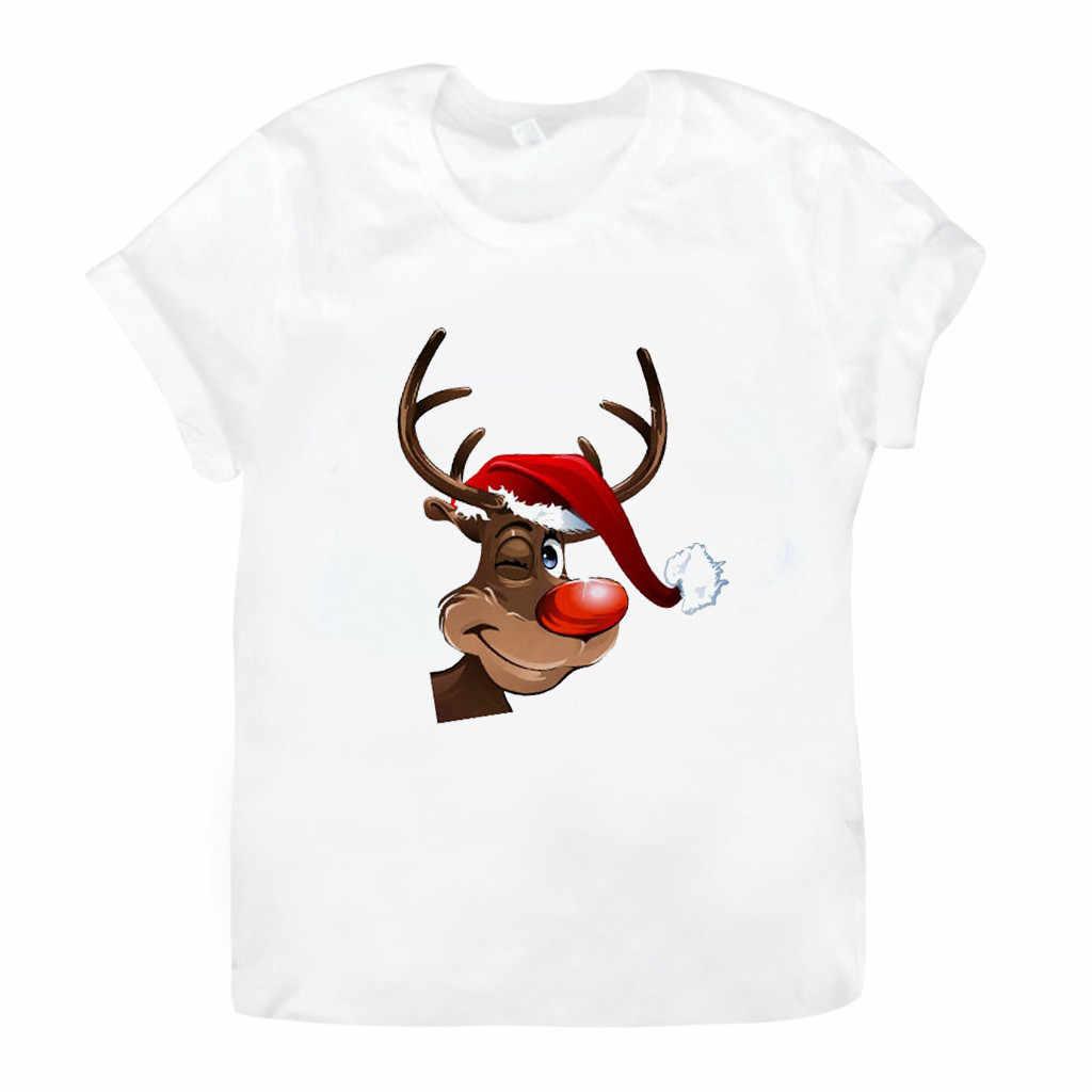 TShirt Christmas Santa Claus ELK พิมพ์เสื้อแขนสั้นคอรอบ Tops Haut Femme Camiseta Mujer Harajuku ผู้หญิงด้านบนเสื้อ