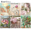 EverShine Painting By Numbers Landscape Coloring By Numbers Hand Painted Bicycle Drawing Canvas Home Decor Gift