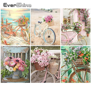 EverShine Painting By Numbers Landscape Coloring Hand Painted Bicycle Drawing Canvas Home Decor Gift