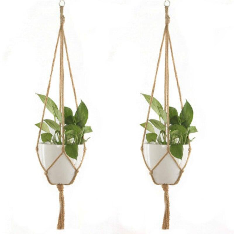 Nouée macramé plante cintre panier Vintage coton lin Pot de fleurs panier levage corde suspendus panier Pot support outils de jardin
