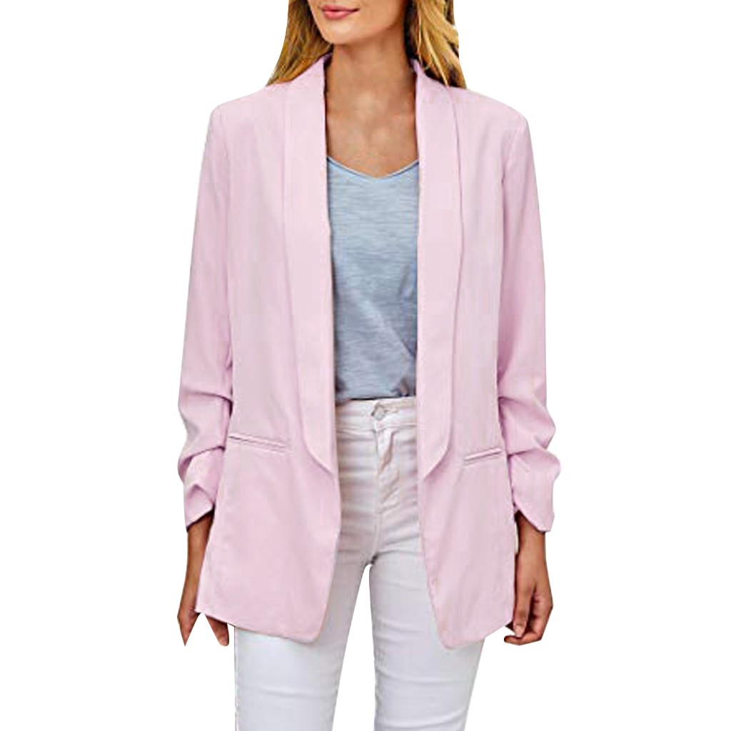 Womens Coat Suit Casual Business Blazer Coat Ruched Long Sleeve Open Front Fit Office Ladies Cardigan Jackets Pink Black