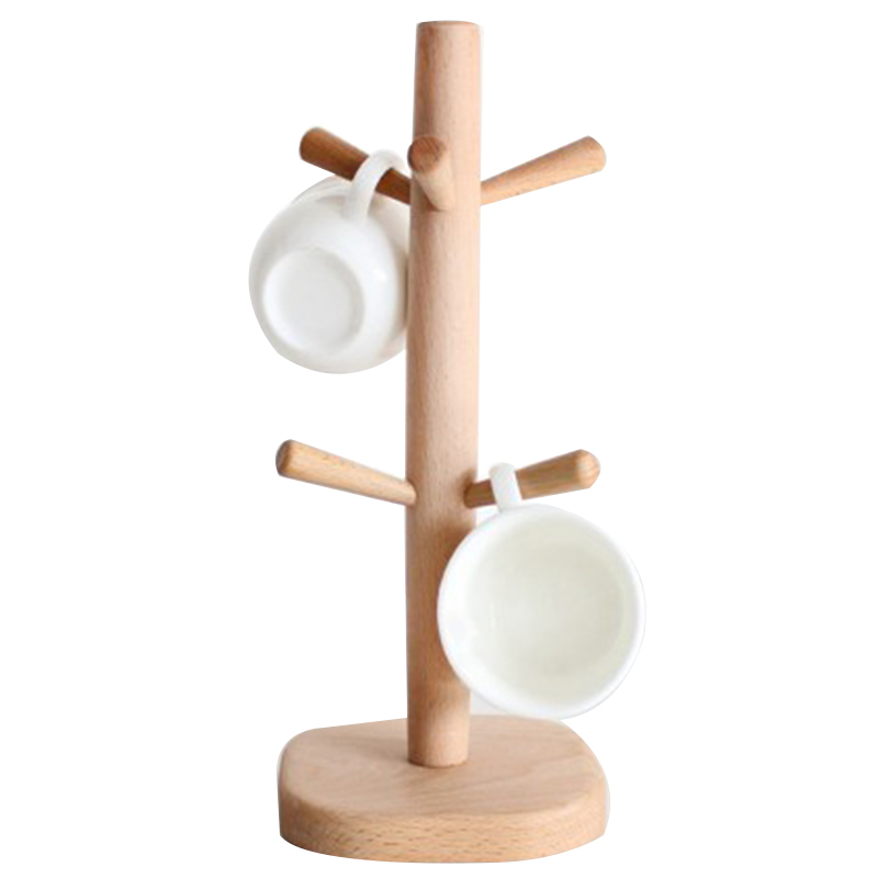 Wood Kitchen Storage Rack Mug Rack Tree Removable Bamboo Mug Stand Storage Coffee Tea Cup Organizer Hanger Holder with 6 Hooks