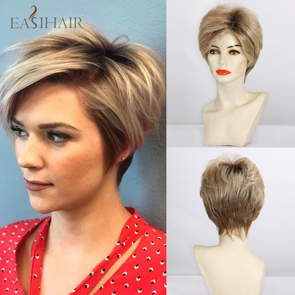 EASIHAIR Short Straight Brown to Blonde Ombre Hair Wigs Lace Front Synthetic Wigs for Women High Density Cosplay Lace Wigs