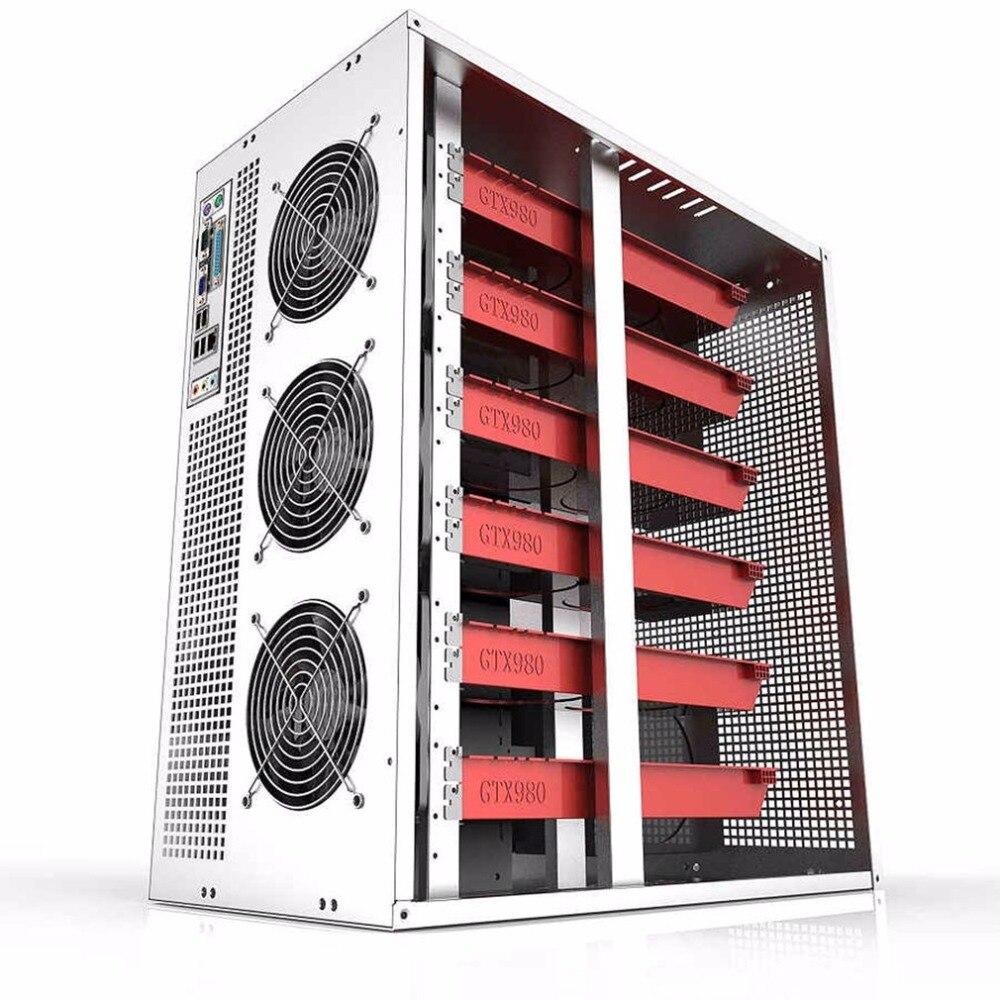 6/8 GPU вертикальный тип графического сервера шасси MicroATX ITX ATX 4U горнодобывающая машина шасси с двумя блоками питания дизайн