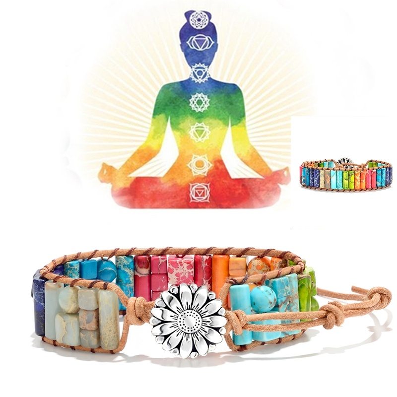 7 Chakra Reiki Healing Natural Stone Beaded Bracelets for Men Women handmade Rope Leather Wrap Healing Yoga Flower Jewelry Gift