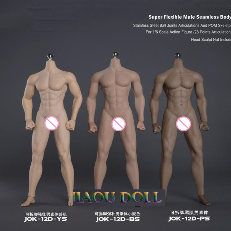 JIAOU DOLL 1//6 Steel Flexible Seamless Muscular Male Black Figure Body Model Toy