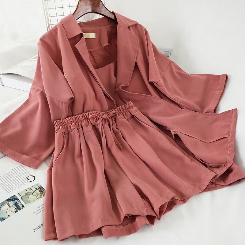 Female Outfits Korean Women Three Piece Sets New Spring Summer Blazer Jacket + Shorts 3 Pcs Set Woman Elegant Suits Tracksuits