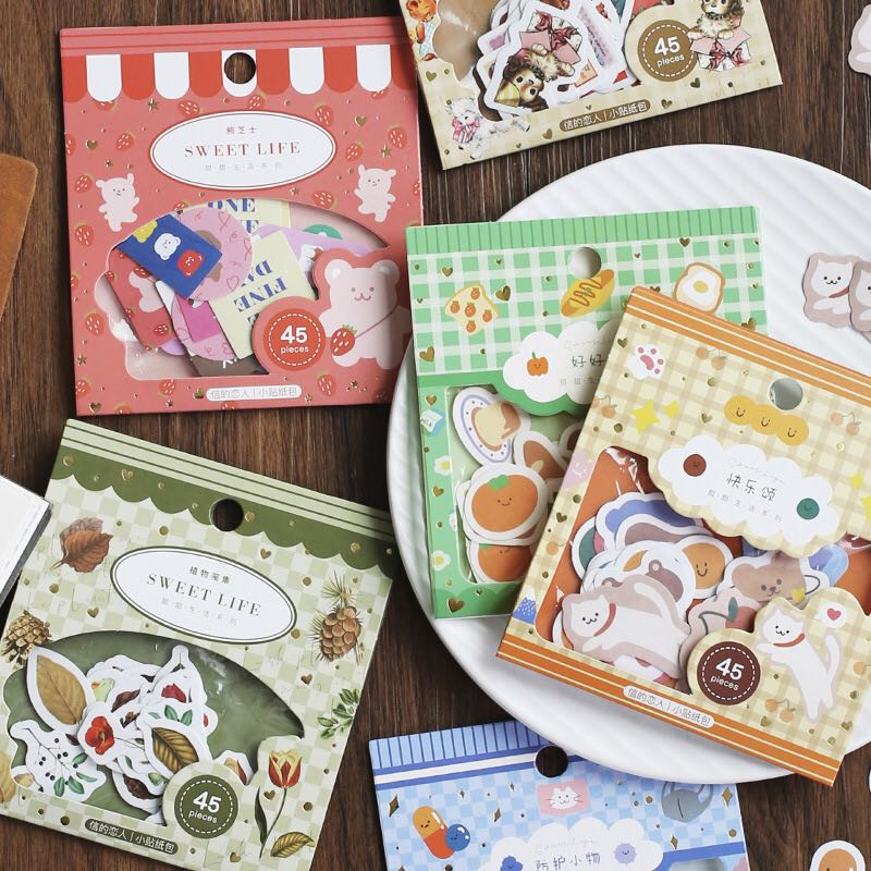 45pcs/pack Sweet Life Label Stickers Decorative Stationery Stickers Scrapbooking Diy Diary Album Stick Lable