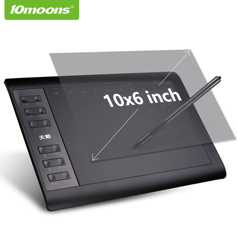 10 luas 10x6 Polegada gráfico desenho tablet 8192 níveis digital tablet sem necessidade de carga caneta
