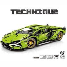 Em estoque moc verde super carro de corrida 1:14 sian modelo blocos de construção tijolos controle remoto elétrico brinquedo educativo menino presente do miúdo