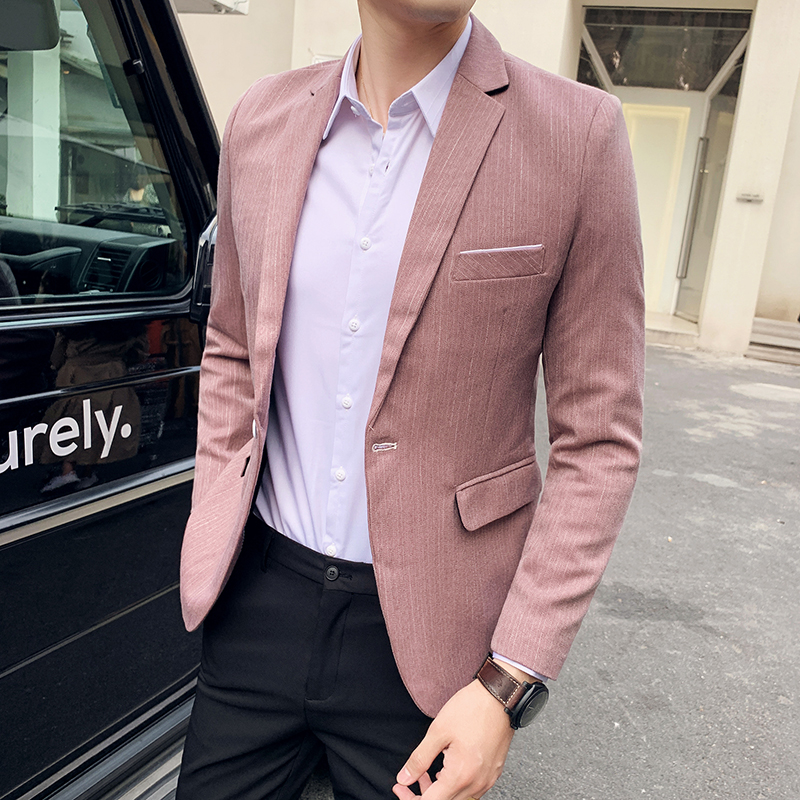 Mens Blazer Jacket 2020 New Fashion Suit Coat Pink Green Coffee Pinstripe Solid One Button Casual Slim Fit Blazer Masculino Sale