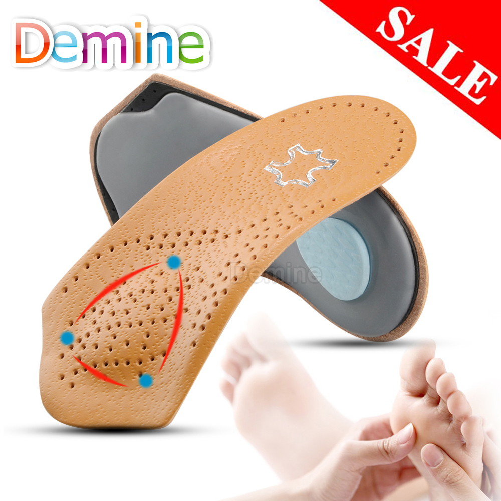 3/4  Length Leather Orthotic Insoles For Flatfoot Heel Arch Support Pads Half Orthopedic Shoe Insole Foot Health Care Shoes Pad