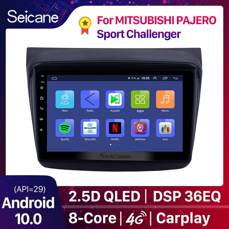 Автомобильный мультимедийный плеер Seicane, 9 дюймов, 8 ядер, Android 10,0, 2din, для MITSUBISHI PAJERO Sport/L200/2006 + Triton/2008 + PAJERO 2010