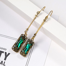 CINDY XIANG green color crystal vintage hollow-out pattern drop earrings for women long dangle earrings fashion jewelry