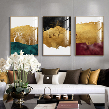 Modern Canvas Painting Poster and Print Wall Art Golden Painting Pictures Abstract Living Room Decoration Living Room Home Decor