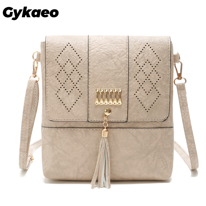 Gykaeo Female Hollow Out Cover Tassel Shoulder Bags Handbags Women Famous Brands Small PU Leather Evening Clutch Crossbody Bags