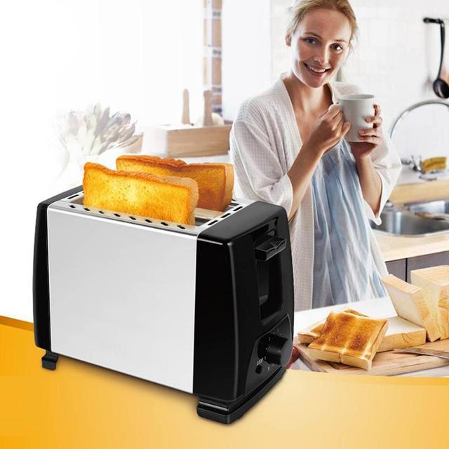 Тостер из нержавеющей стали с 2 ломтиками Автоматический быстрый нагрев тостер для хлеба, бытовой для завтрака