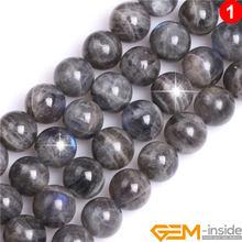 Perles de Labradorite naturelle bleue arc-en-ciel, 6/8/10/12mm, en vrac, pour la fabrication de bijoux, 15 pouces