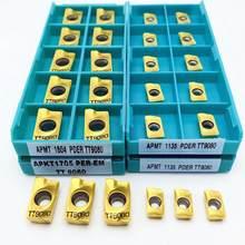 Apmt1135 apmt1604 pder tt9080 inserções de carboneto de fresagem indexável apmt torno cnc peças ferramenta apkt1705 por tt9080