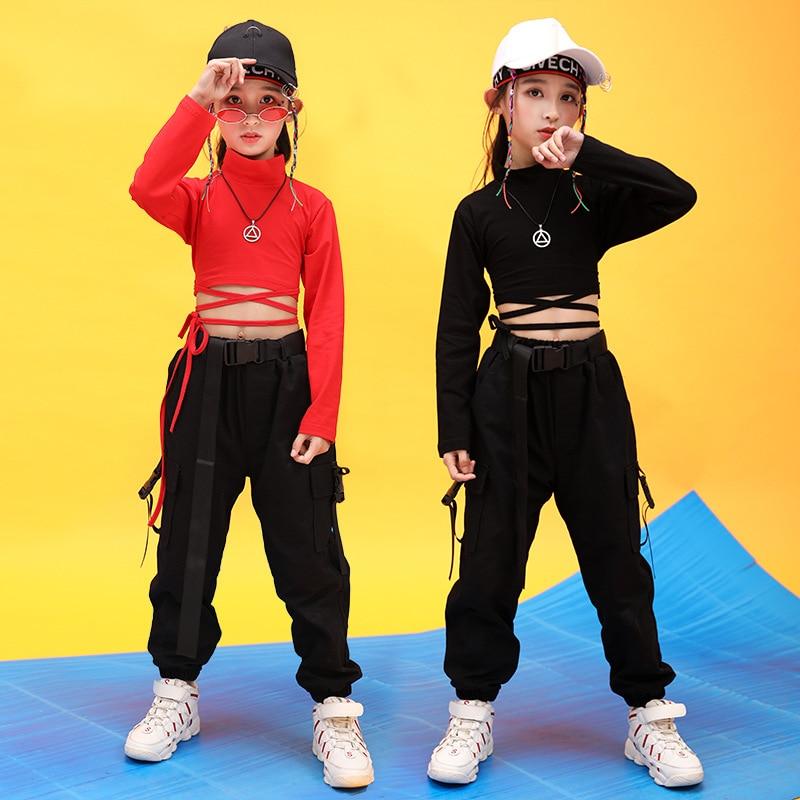Kids Hip Hop Clothing High Neck Sweatshirt Shirt Top Crop Black Running Casual Pants For Girl Jazz Dance Costume Dancing Clothes